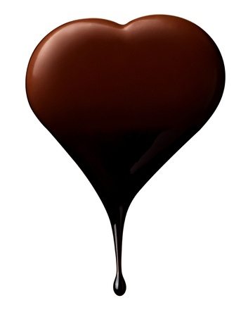 fudge: close up chocolate syrup leaking over heart shape symbol on white background with clipping path