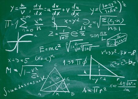 chalk line: close up of math formulas on a blackboard