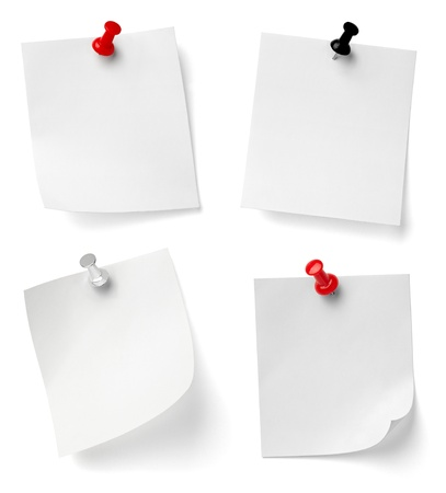 post it note: collection of various note papers with push pins on white background. each one is shot separately Stock Photo