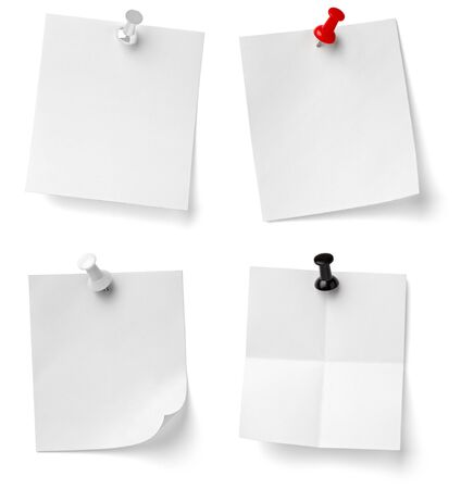 thumb tack: collection of various note papers with push pins on white background. each one is shot separately Stock Photo