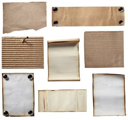 sign post: collection of various grunge note papers on white background. each one is shot separately Stock Photo