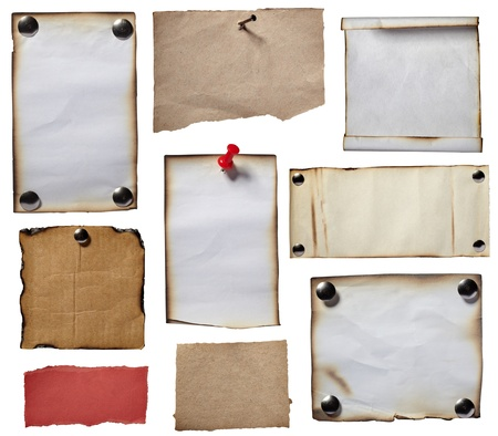 noticeboard: collection of various grunge note papers on white background. each one is shot separately Stock Photo