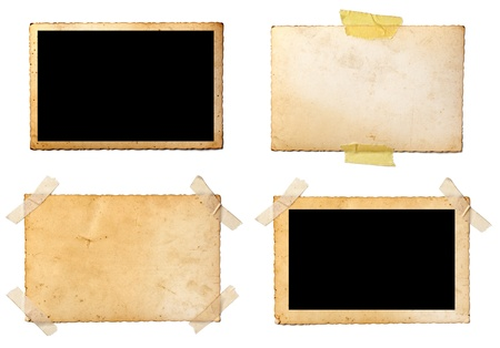 instant film transfer: collection of various  old photos on white background. each one is shot separately Stock Photo