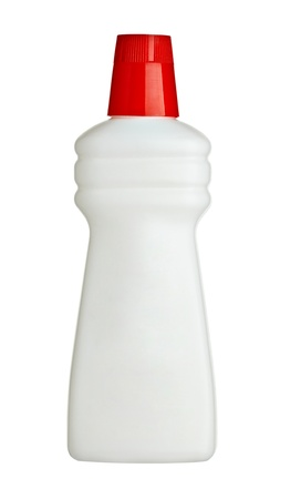 close up of a white blank sanitary bottle on white background with clipping path Stock Photo - 9417263