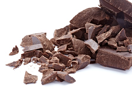 chocolate block: close up  of chocolate pieces on white background