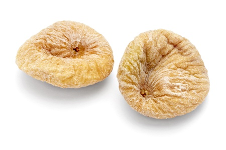close up of dried fig fruit on white background with clipping path photo