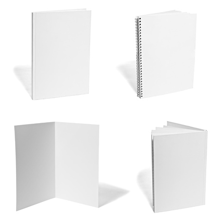 new books: collection of various  blank white paper on white background. each one is shot separately Stock Photo