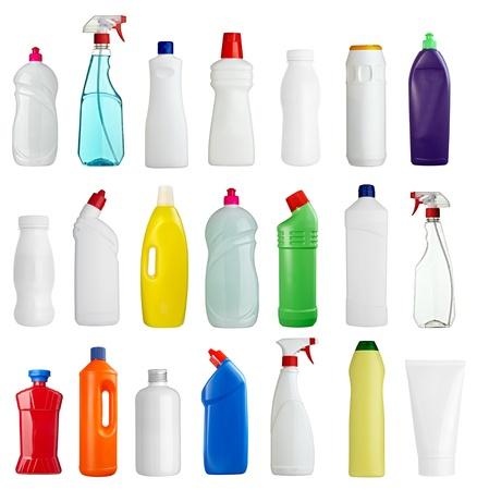 productos quimicos: colecci�n de varias botellas de higiene sanitaria sobre fondo blanco. cada uno es asesinado por separado