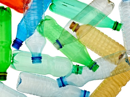 plastic container: close up of empty used plastic bottles on white background with clipping path