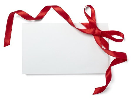 envelope: close up of  card note with red ribbon on white background  with clipping path