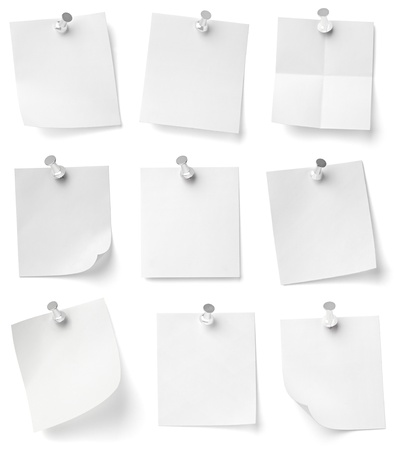 push pins: collection of various note papers with push pins on white background. each one is shot separately Stock Photo