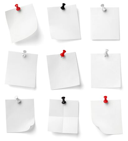 pinboard: collection of various note papers with push pins on white background. each one is shot separately Stock Photo