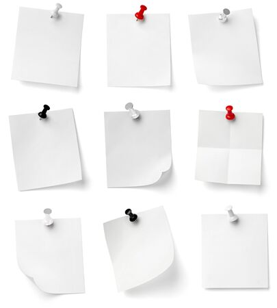 noticeboard: collection of various note papers with push pins on white background. each one is shot separately Stock Photo