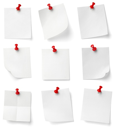 thumbtacks: collection of various note papers with push pins on white background. each one is shot separately Stock Photo