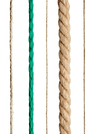 jute texture: collection of various ropes on white background. each one is shot separately
