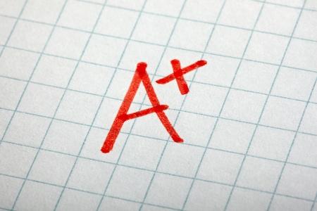 close up of grade a and math examination Stock Photo - 9479677