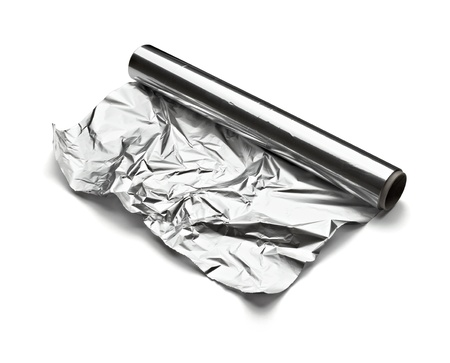 foil: close up of aa aluminum foil on white background with clipping path