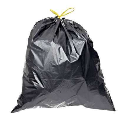 rubbish bin: close up of a garbage bag on white background with clipping path