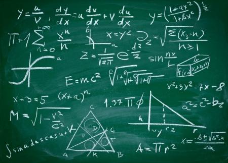 lavagna: Close up di formule matematiche su una lavagna