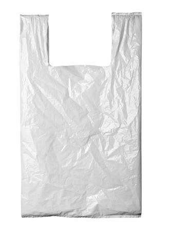 recyclage plastique: pr�s d'un sac de plastique blanc sur fond blanc avec chemin de d�tourage