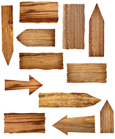 wood plaque: collection of wooden signs on white background. each one is a separate picture