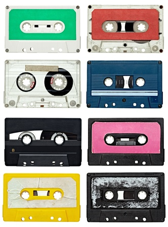 cassettes: collection of various vintage audio tapes on white background. each one is shot separately