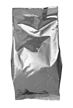 close up of an aluminum bag on white background with clipping path photo