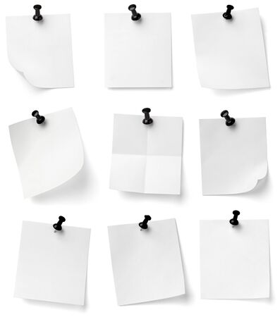 collection of various note papers with push pins on white background. each one is shot separately Stock Photo - 9591140
