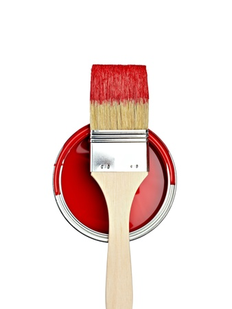 paint  container: close up of paint container and brush  on white background with clipping path Stock Photo