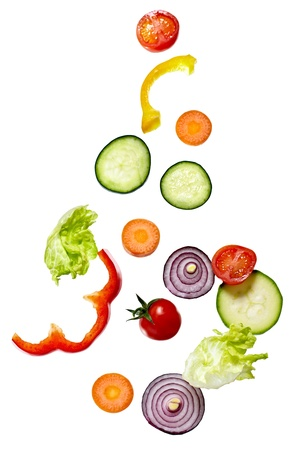 garnish: close up of vegetables on white background