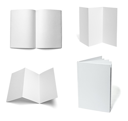 cover pages: collection of various  blank white paper on white background. each one is shot separately Stock Photo