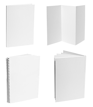 collection of various  blank white paper on white background. each one is shot separately Stock Photo - 9591097