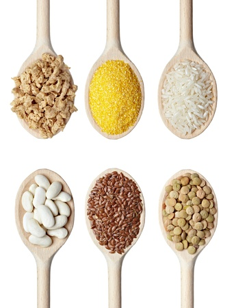 dietary fiber: collection of various food ingrediants in wooden spoon on white background. each one is shot separately Stock Photo