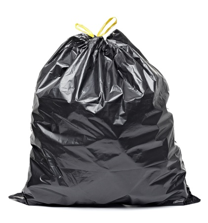 close up of a garbage bag on white background with clipping path photo
