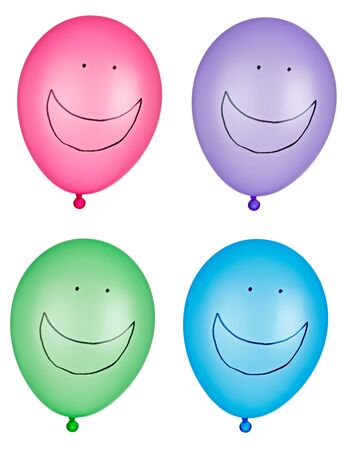 collection of various balloons on white background. each one is shot separately photo