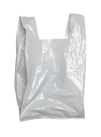 envases plasticos: cerca de una bolsa de pl�stico blanca sobre fondo blanco con trazado de recorte Foto de archivo