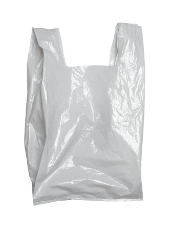 recyclage plastique: pr?s d'un sac de plastique blanc sur fond blanc avec chemin de d?tourage