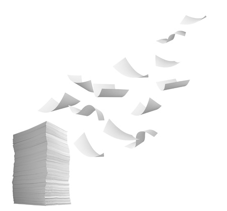 office chaos: close up of flying  paper and stack of papers on white background