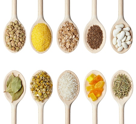 rizs: collection of various food ingredients in wooden spoon on white background. each one is shot separately