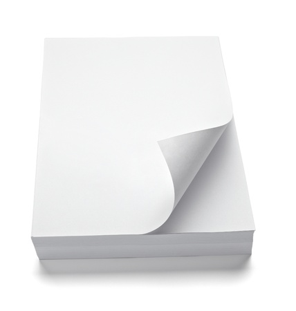 stack of paper: close up of stack of papers with curl on white background