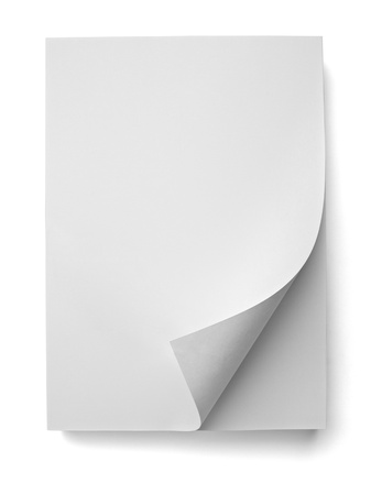 unorganized: close up of stack of papers with curl on white background