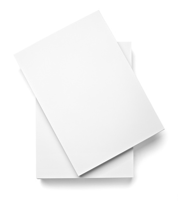 stack of documents: close up of stack of papers on white background