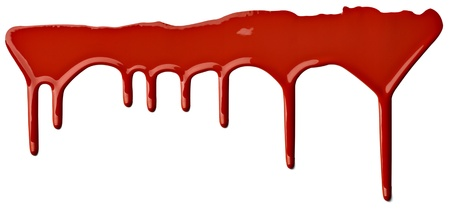 close up of red paint leaking on white background Stock Photo - 9774614