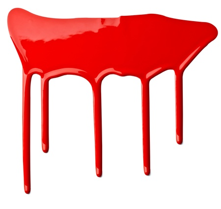 close up of red paint leaking on white background Stock Photo - 9774613