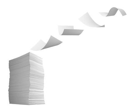heap up: close up of flying  paper and stack of papers on white background