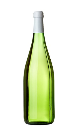 green glass bottle: close up of  a green wine bottle on white background with clipping path