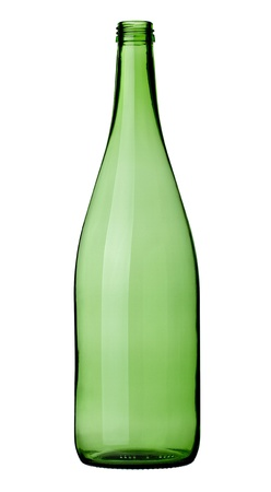 close up of  a green wine bottle on white background with clipping path photo