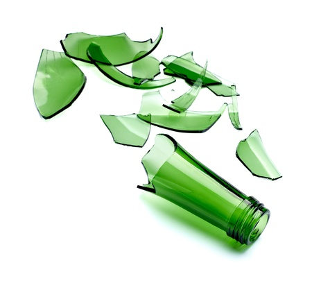 close up of  a broken green bottle on white background with clipping path photo