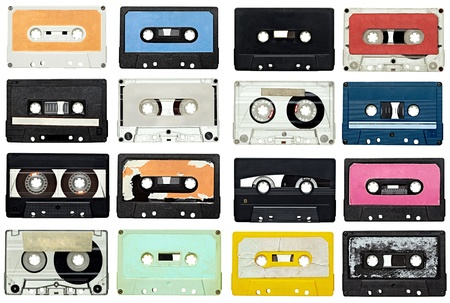collection of various vintage audio tapes on white background. each one is shot separately Stock Photo - 9774755