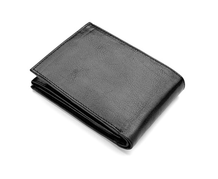 close up of  a black leather wallet on white background  photo